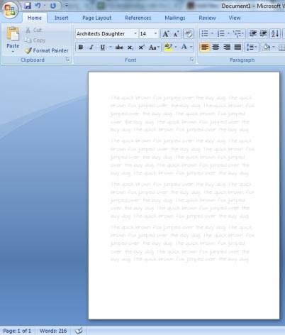 font worksheet